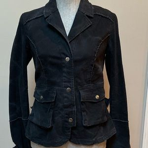 Free People Military Jacket Blazer W/ Back Ruffle